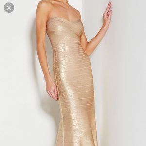 Herve Leger SARA STRAPLESS SIGNATURE BANDAGE GOWN